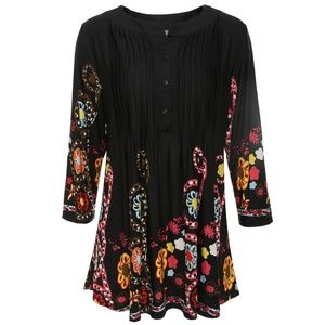 Tops - Black Floral Tunic w/ Colorful Abstract Designs